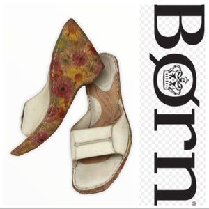Born Leather Floral Cork Wedges